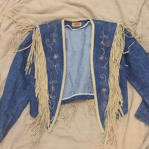 Vintage Denim & leather Bolero Halloween ready